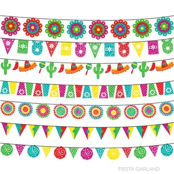 Fiesta Garland Cute Digital Clipart, Cinco de Mayo Clip Art, Maracas, Sombrero