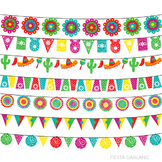 Fiesta Garland Cute Digital Clipart, Cinco de Mayo Clip Ar