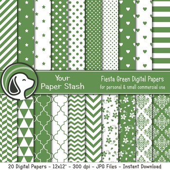 Fiesta Green Digital Paper Pack w/ Stripes and Chevrons, Green Scrapbook Paper