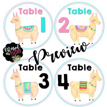 Fiesta Llama Table Numbers *editable*