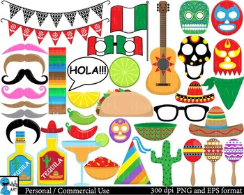 Fiesta Props Clipart Digital ClipArt Personal, Commercial Use 145 images cod178