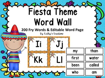 Fiesta Theme Word Wall & 200 Fry Words With Editable Word Page