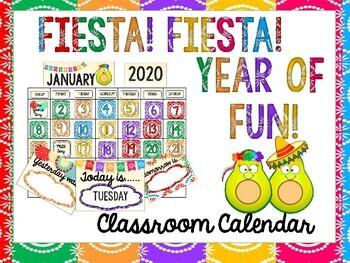 Fiesta 2020 Calendar Fiesta Themed Classroom Calendar Kit by Mini yet Mighty | TpT