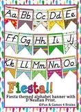 Fiesta Themed D'nealian Print Alphabet Strip Banner