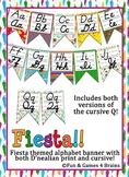 Fiesta Themed D'nealian Print and Cursive Alphabet Strip Banner