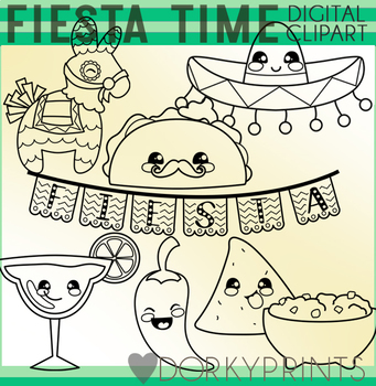Fiesta Time Blackline Clipart