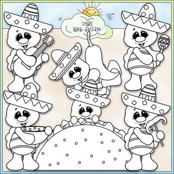 Fiesta Turtles Clip Art - Mexico Clip Art - Cinco de Mayo - CU Clip Art & B&W