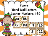 Fiesta Word Wall Letters and Locker Numbers 1-30