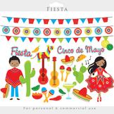Fiesta clipart - Mexican cinco de mayo dancing pinata guitars cactus party