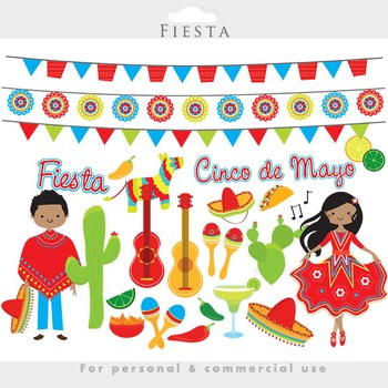 Fiesta clipart - Mexican cinco de mayo dancing pinata guitars cactus party