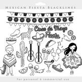 Fiesta clipart - Mexican cinco de mayo dancing pinata line art blacklines lines