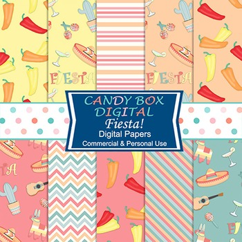 Fiesta Mexican Theme Digital Papers For Web, Scrapbooks An