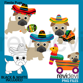 Fiesta pugs clip art