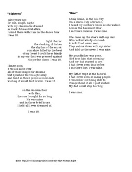 Fifteen Poem Activity- Personal Poem- Freshman