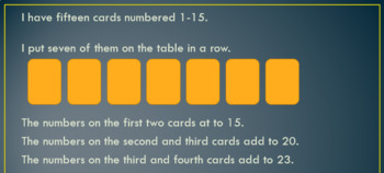 Fifteen cards activity - Y4 maths (addition and subtraction problems)