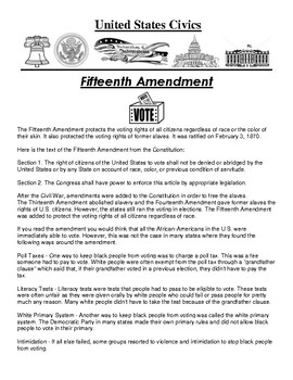 Fifteenth Amendment Civics Article and Assignment