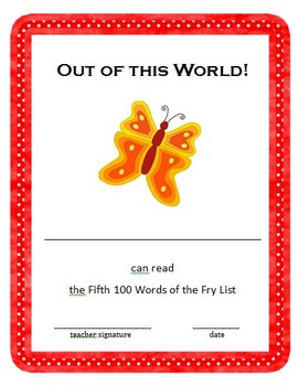 Fry Sight Words Book - Fifth 100 Words
