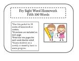 Fifth 100 Fry Sight Words Homework
