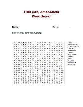 Fifth (5th) Amendment Word Search