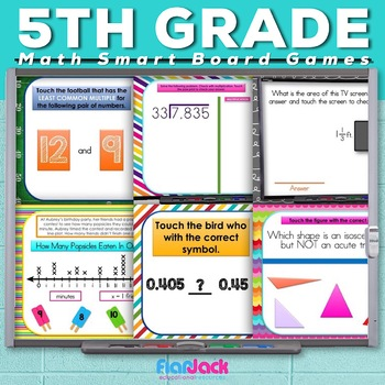 5th Grade Math Smart Board Promethean Flipchart Game Bundle