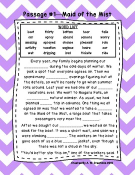 Fifth Cloze Reading Passages FREEBIE