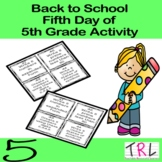 Fifth Day of 5th Grade Activity 4 Back to School