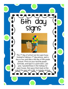 Fifth Day of 5th grade Signs