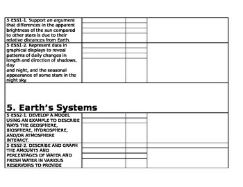 Fifth Grade - 5th Grade NGSS Next Generation Science Standards - Mastery Log