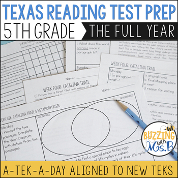 Fifth Grade A TEK-a-Day Reading Test Prep & Review: The Growng Bundle