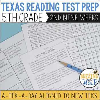 Fifth Grade A TEK-a-Day Reading Test Prep & Review, 2nd Nine Weeks