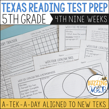 Fifth Grade A TEK-a-Day Reading Test Prep & Review 4th Nine Weeks