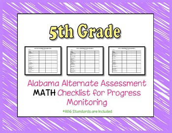 Fifth Grade AAA Math Checklist Progress Monitoring