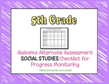 Fifth Grade AAA Social Studies Checklist Progress Monitoring