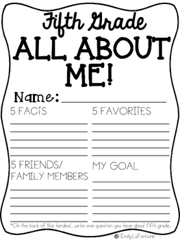Fifth Grade All About Me Poster - Back to School activity