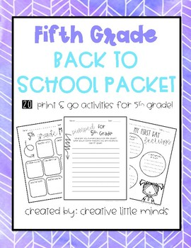 Fifth Grade Back to School Pack