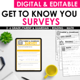 Upper Elementary Back to School Questionnaire Survey [EDITABLE]