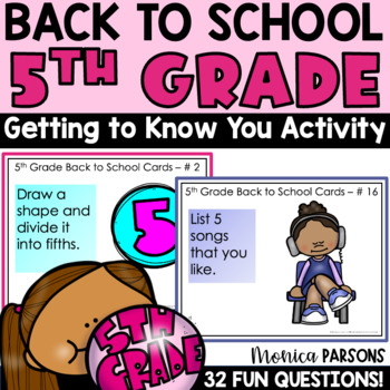 Fifth Grade Back to School Task Cards