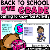 Back to School Getting to Know You Activity   First Week o