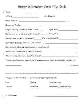 Fifth Grade Band Introduction Sheet