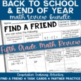5th Grade End of Year Math Review Activities Bundled with Back to School Review