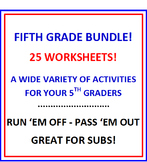 Fifth Grade Bundle Bargain 25 Worksheets