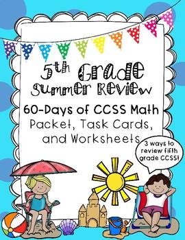 Fifth Grade CCSS Summer Math Review Packet, Task Cards, an