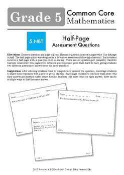 Fifth Grade CCSS Opened Ended Maths Questions