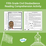 FREE Fifth Grade Civil Disobedience Reading Comprehension Activity