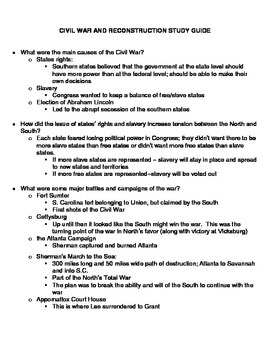 Fifth Grade Civil War and Reconstruction Study Guide