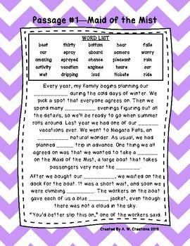 Fifth Grade Cloze Reading Passages Set A (#1-10)