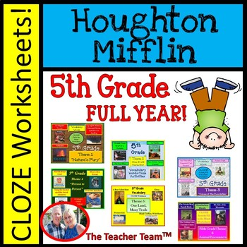 Houghton Mifflin Reading 5th Grade Cloze Worksheet Full Year Bundle Themes 1-6