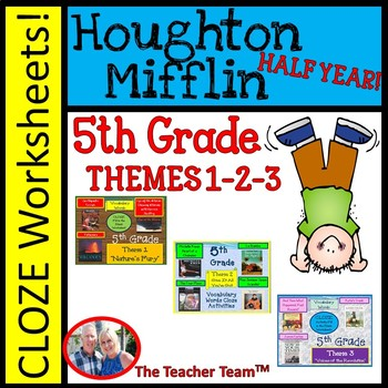 Houghton Mifflin Fifth Grade Cloze Worksheet Half Year Bundle Themes 1-2-3