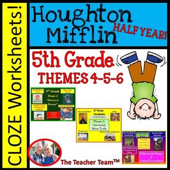 Houghton Mifflin Reading 5th Grade Worksheets Bundle Theme 4 - Theme 6