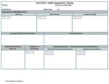 Fifth Grade Common Core Aligned Interactive Lesson Plan Templates